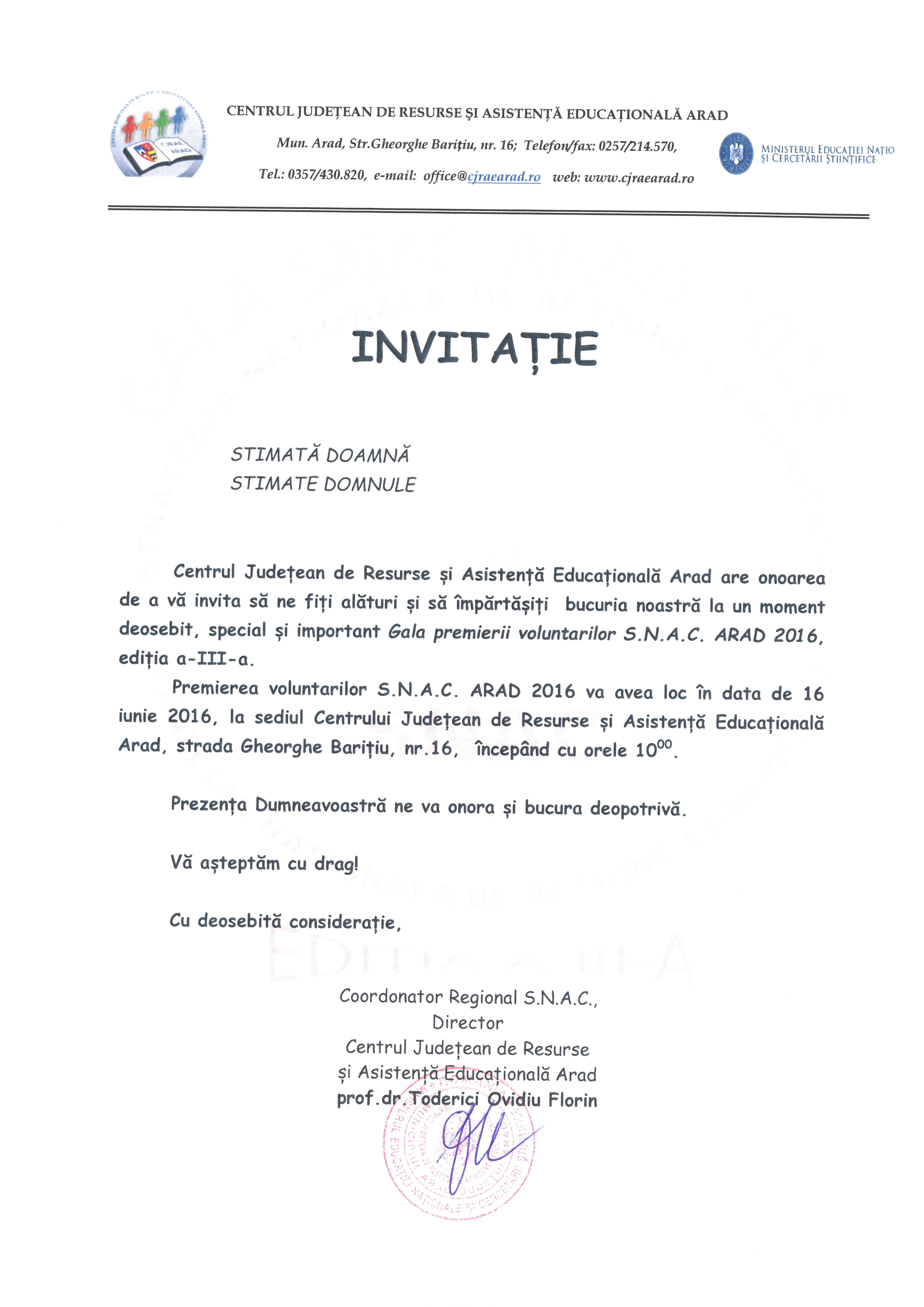 Invitatie S.N.A.C